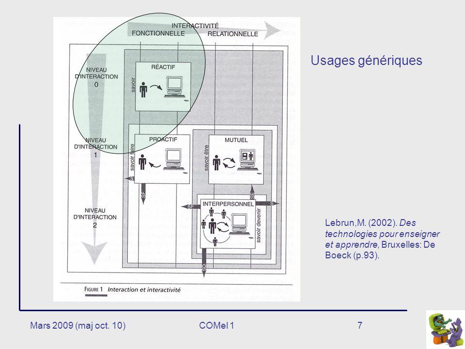 7 Usages génériques Lebrun,M.(2002).