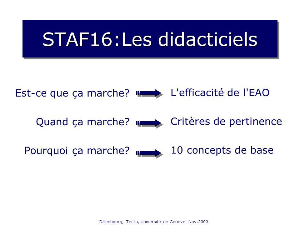 Dillenbourg, Tecfa, Université de Genève. Nov.2000 STAF16:Les didacticiels Est-ce que ça marche? Quand ça marche? Pourquoi ça marche? L'efficacité de