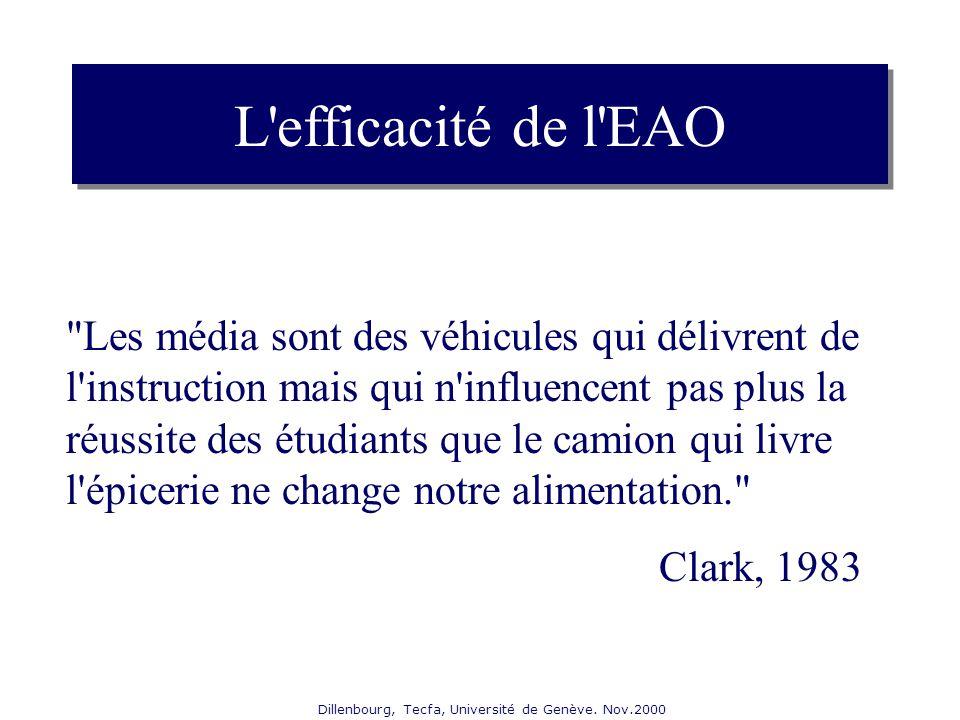 Dillenbourg, Tecfa, Université de Genève. Nov.2000 L'efficacité de l'EAO