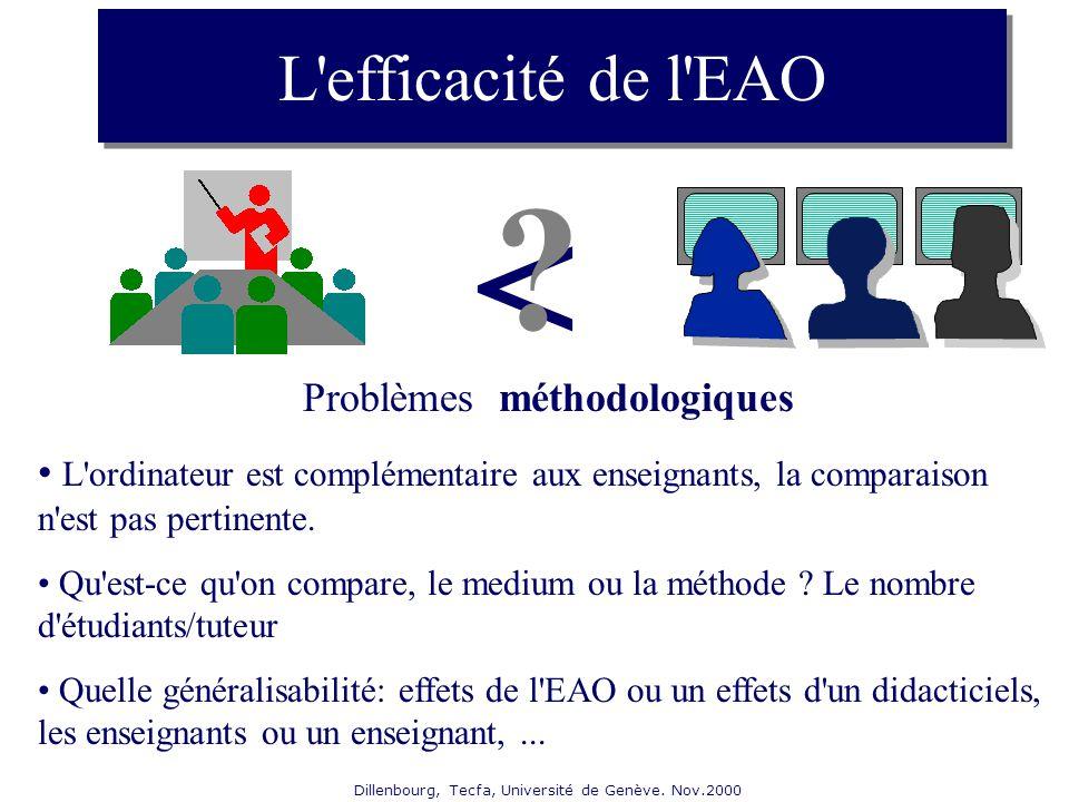 Dillenbourg, Tecfa, Université de Genève. Nov.2000 L'efficacité de l'EAO Problèmes méthodologiques L'ordinateur est complémentaire aux enseignants, la