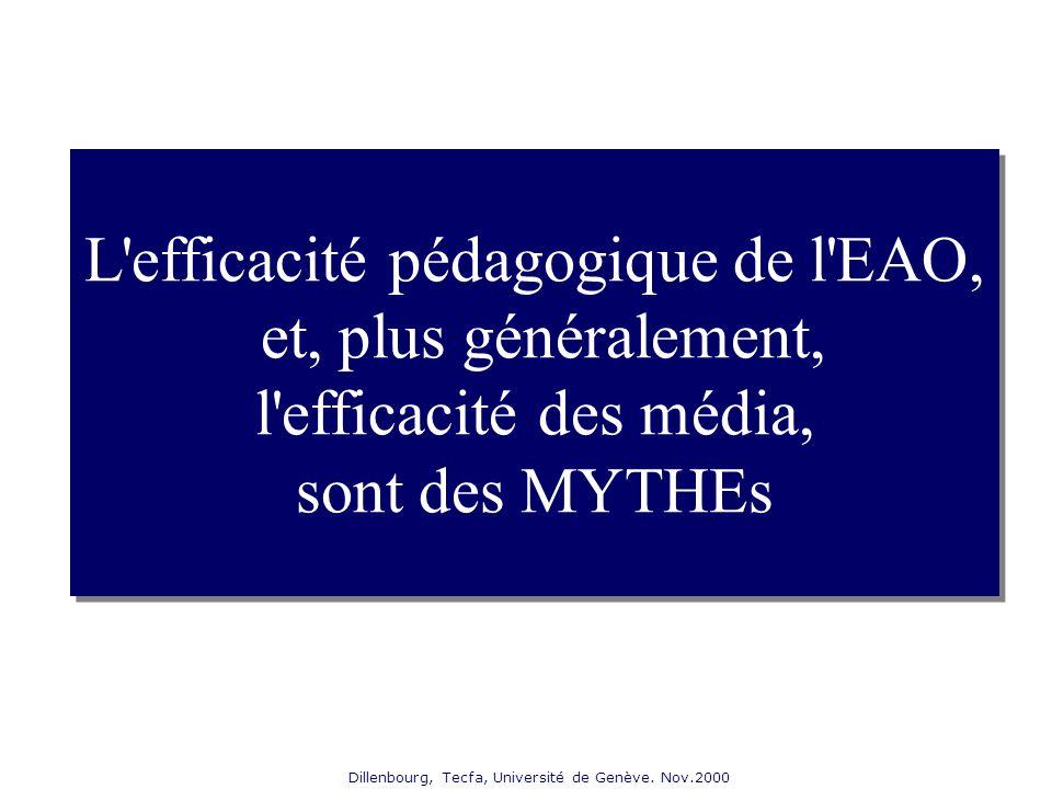 Dillenbourg, Tecfa, Université de Genève. Nov.2000 L'efficacité pédagogique de l'EAO, et, plus généralement, l'efficacité des média, sont des MYTHEs