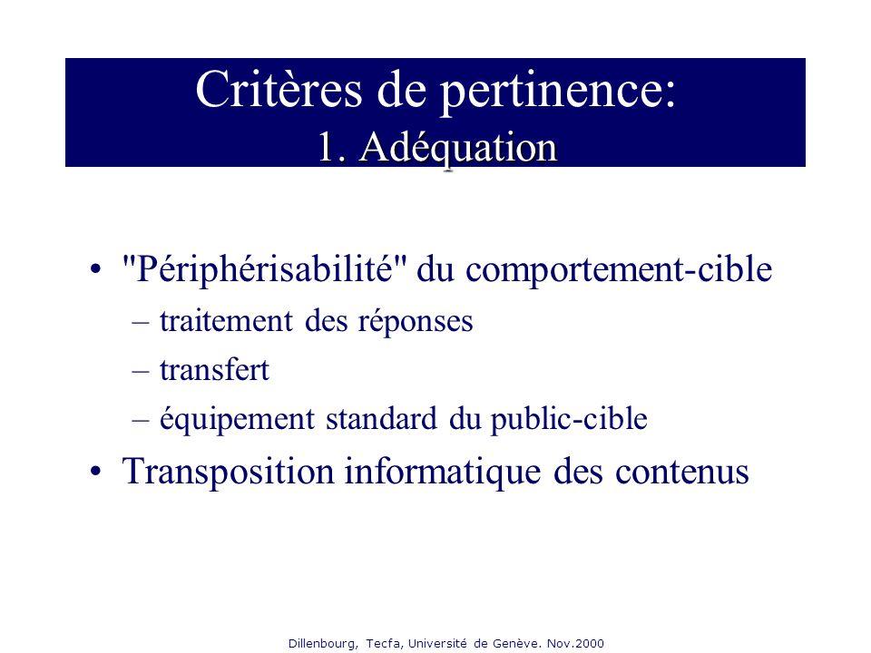 Dillenbourg, Tecfa, Université de Genève. Nov.2000 1. Adéquation Critères de pertinence: 1. Adéquation