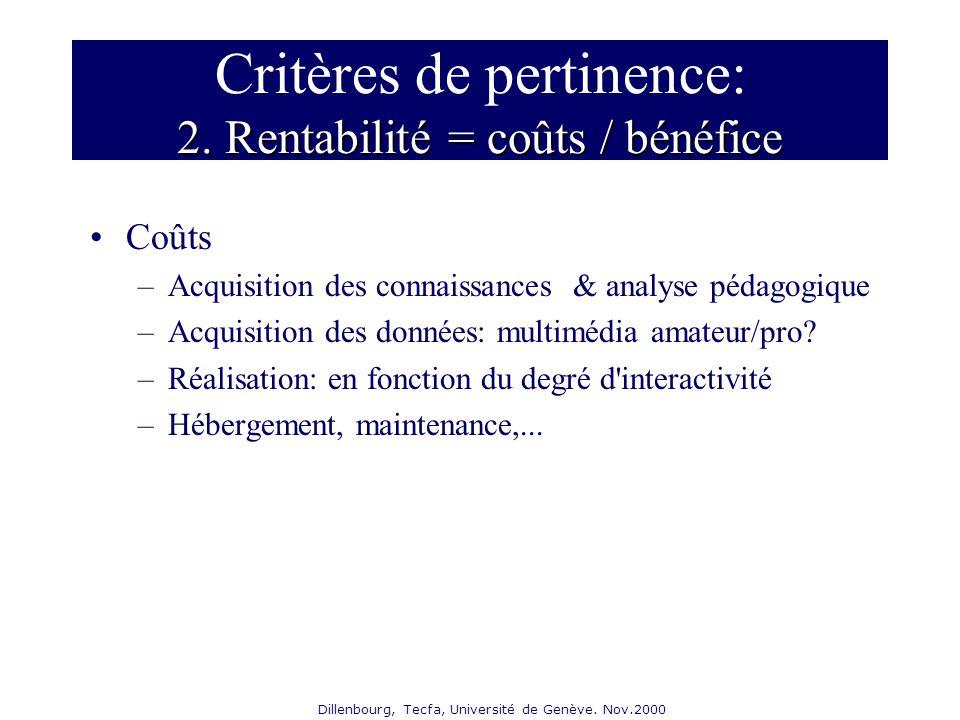 Dillenbourg, Tecfa, Université de Genève. Nov.2000 2. Rentabilité = coûts / bénéfice Critères de pertinence: 2. Rentabilité = coûts / bénéfice Coûts –