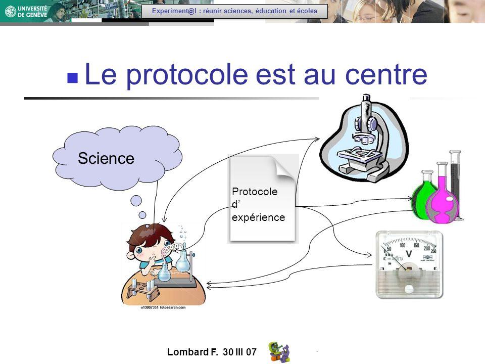 - Experiment@l : réunir sciences, éducation et écoles Le protocole est au centre Lombard F.