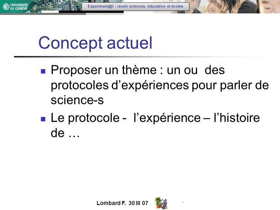 - Experiment@l : réunir sciences, éducation et écoles Concept actuel Proposer un thème : un ou des protocoles dexpériences pour parler de science-s Le protocole - lexpérience – lhistoire de … Lombard F.