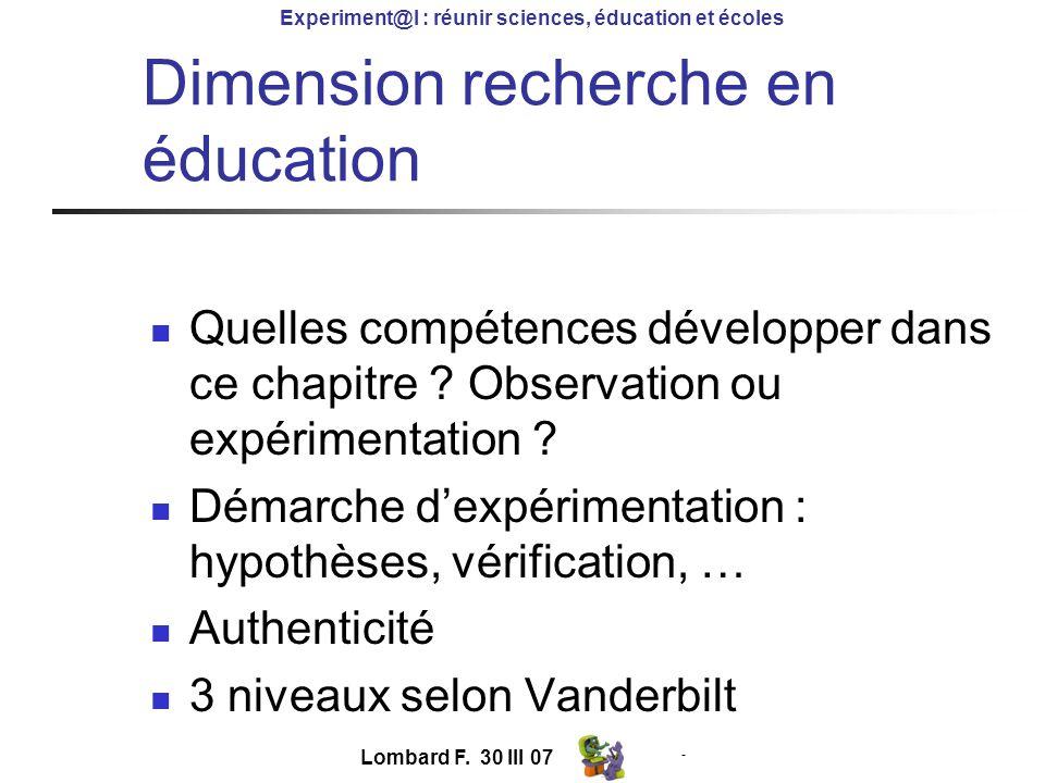 - Experiment@l : réunir sciences, éducation et écoles Lombard F.