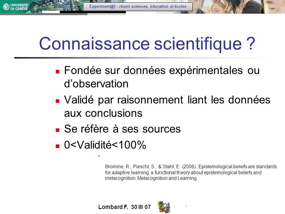 - Experiment@l : réunir sciences, éducation et écoles Connaissance scientifique .