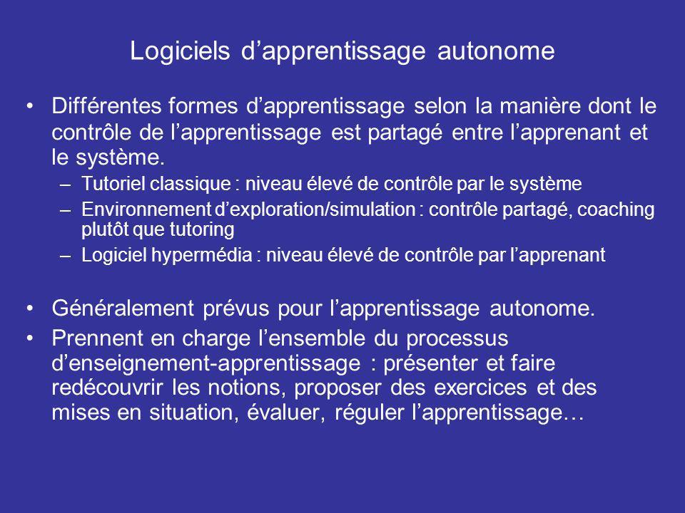 Logiciels dapprentissage autonome Différentes formes dapprentissage selon la manière dont le contrôle de lapprentissage est partagé entre lapprenant et le système.