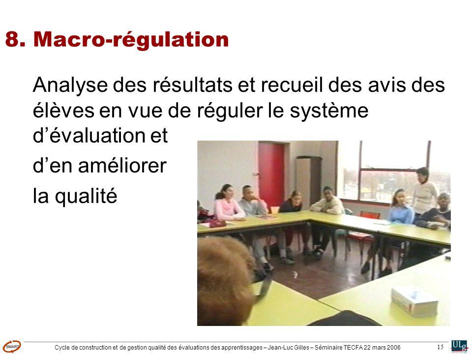 Cycle de construction et de gestion qualité des évaluations des apprentissages – Jean-Luc Gilles – Séminaire TECFA 22 mars 2006 15 8. Macro-régulation