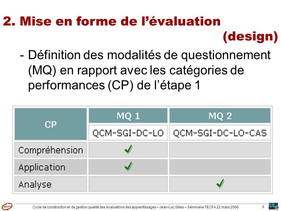 Cycle de construction et de gestion qualité des évaluations des apprentissages – Jean-Luc Gilles – Séminaire TECFA 22 mars 2006 6 2. Mise en forme de