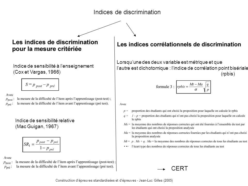 Construction d épreuves standardisées et d épreuves - Jean-Luc Gilles (2005) CERT