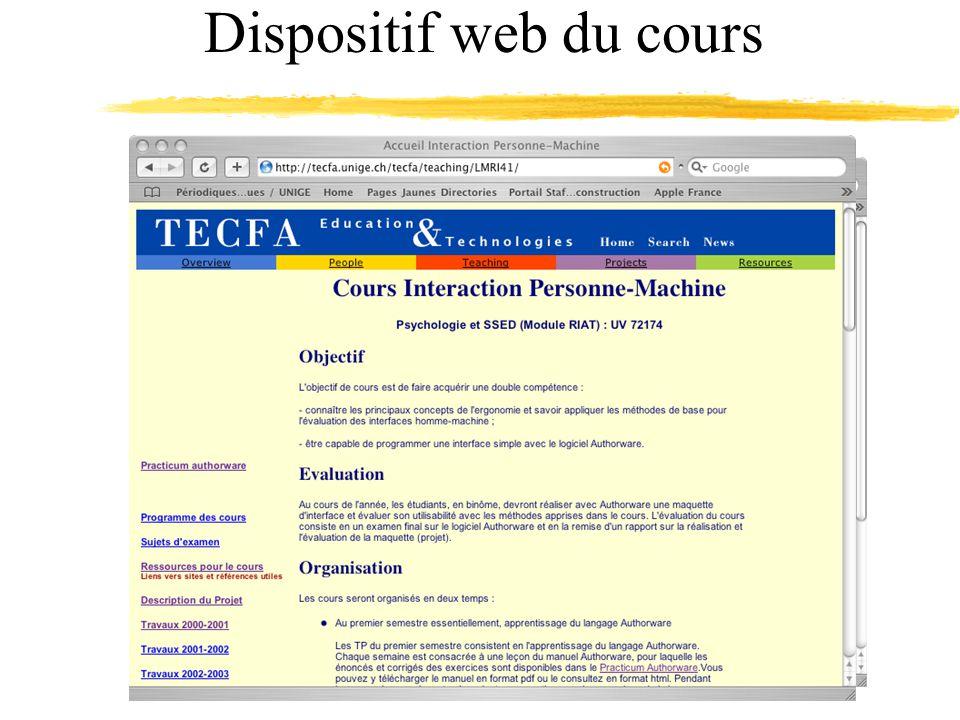 Dispositif web du cours