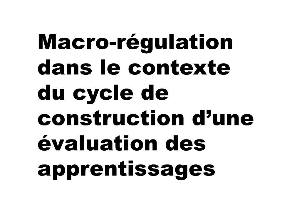 Macro-régulation dans le contexte du cycle de construction dune évaluation des apprentissages