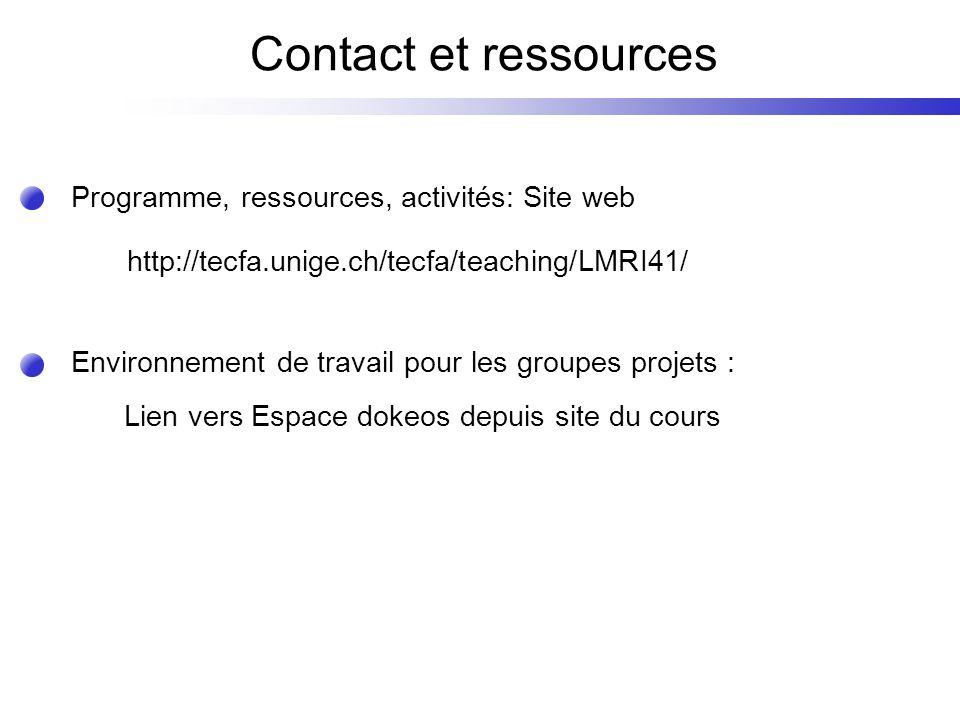 Contact et ressources http://tecfa.unige.ch/tecfa/teaching/LMRI41/ Programme, ressources, activités: Site web Lien vers Espace dokeos depuis site du cours Environnement de travail pour les groupes projets :