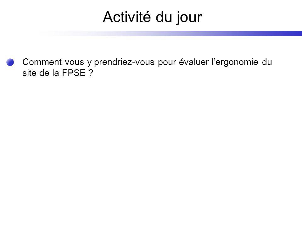 Activité du jour Comment vous y prendriez-vous pour évaluer lergonomie du site de la FPSE