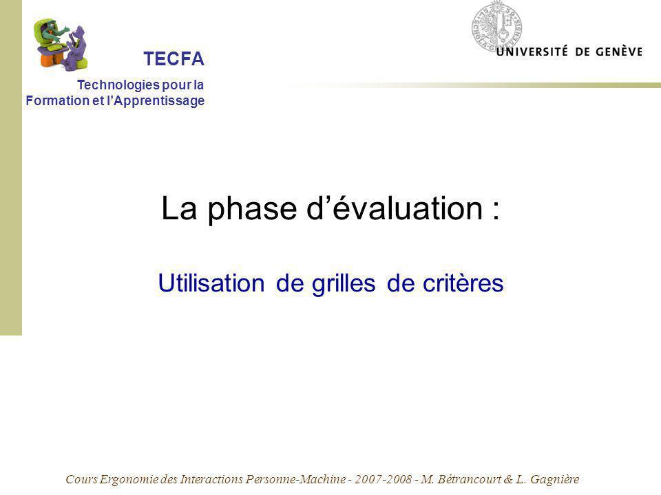 Cours Ergonomie des Interactions Personne-Machine - 2007-2008 - M. Bétrancourt & L. Gagnière La phase dévaluation : Utilisation de grilles de critères