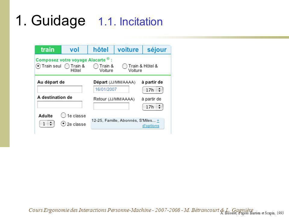 Cours Ergonomie des Interactions Personne-Machine - 2007-2008 - M. Bétrancourt & L. Gagnière 1. Guidage 1.1. Incitation A. Bisseret, daprès Bastien et