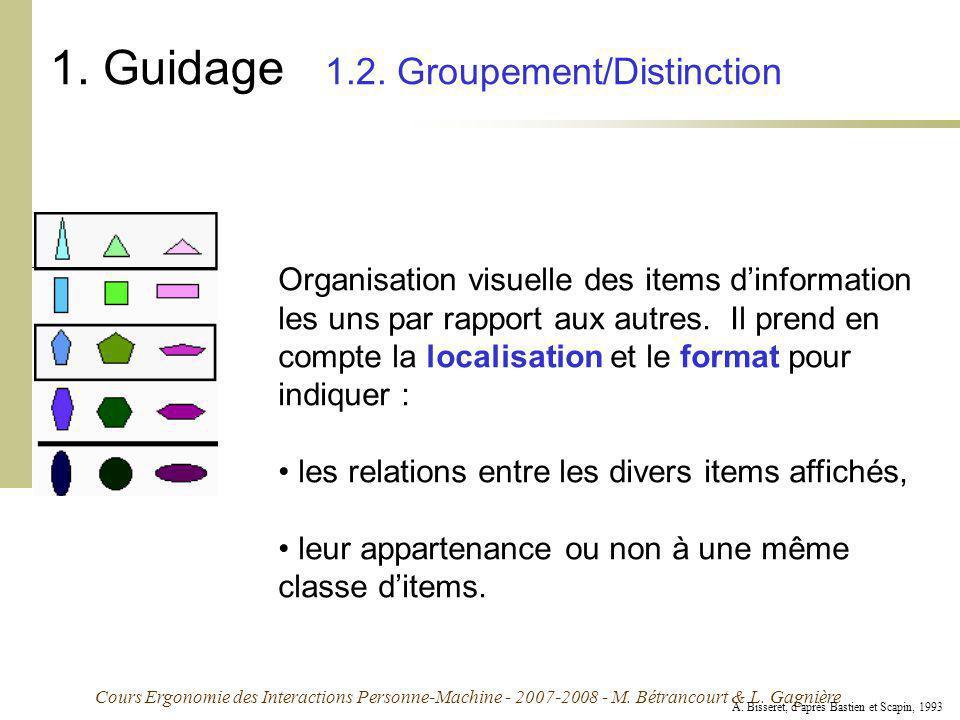 Cours Ergonomie des Interactions Personne-Machine - 2007-2008 - M. Bétrancourt & L. Gagnière 1. Guidage 1.2. Groupement/Distinction Organisation visue