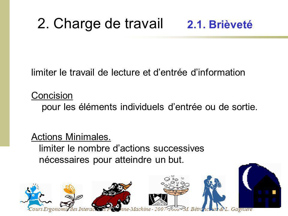Cours Ergonomie des Interactions Personne-Machine - 2007-2008 - M. Bétrancourt & L. Gagnière 2. Charge de travail 2.1. Brièveté limiter le travail de