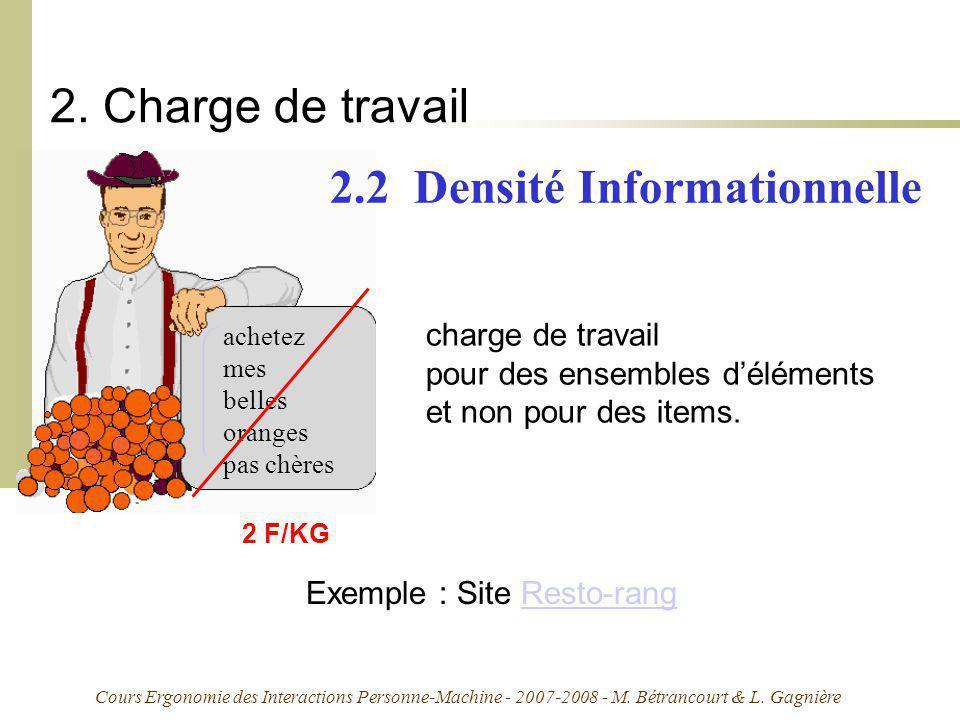 Cours Ergonomie des Interactions Personne-Machine - 2007-2008 - M. Bétrancourt & L. Gagnière 2. Charge de travail achetez mes belles oranges pas chère