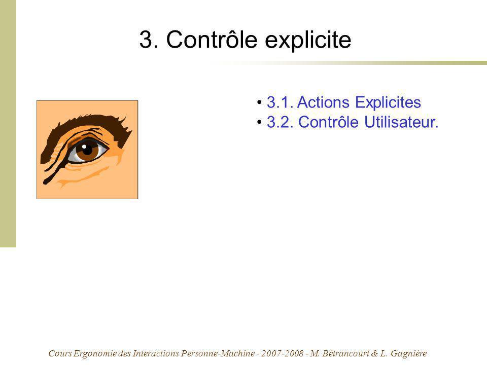 Cours Ergonomie des Interactions Personne-Machine - 2007-2008 - M. Bétrancourt & L. Gagnière 3. Contrôle explicite 3.1. Actions Explicites 3.2. Contrô