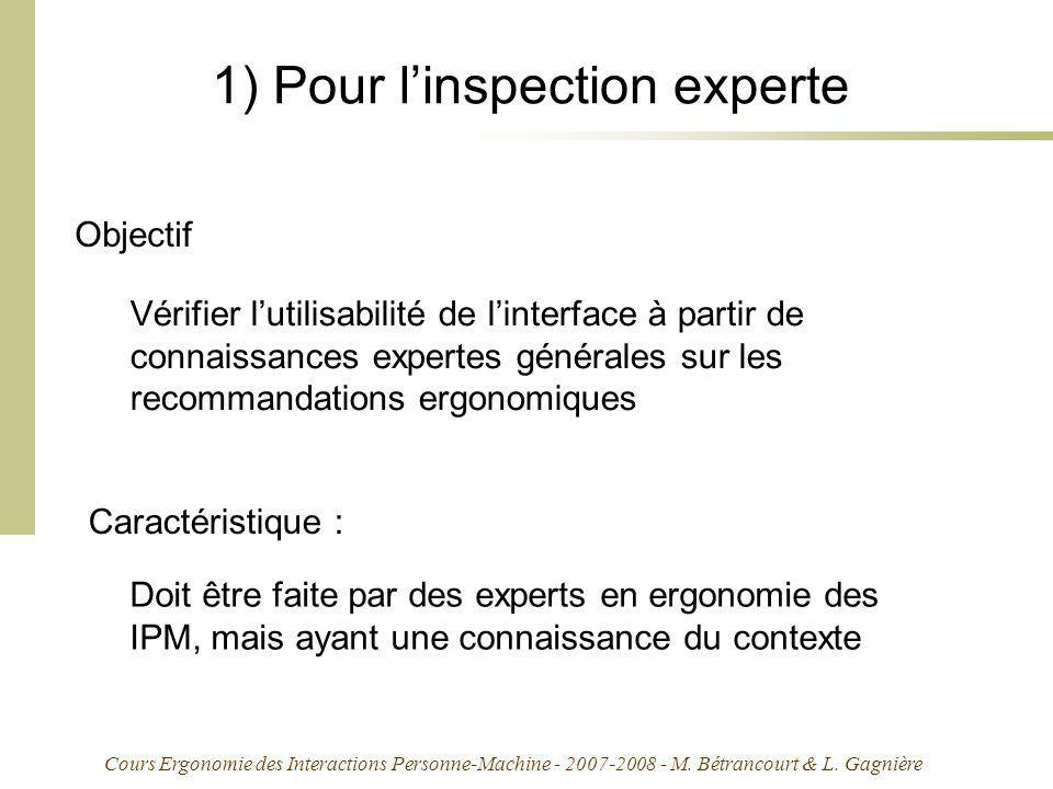 Cours Ergonomie des Interactions Personne-Machine - 2007-2008 - M. Bétrancourt & L. Gagnière 1) Pour linspection experte Vérifier lutilisabilité de li