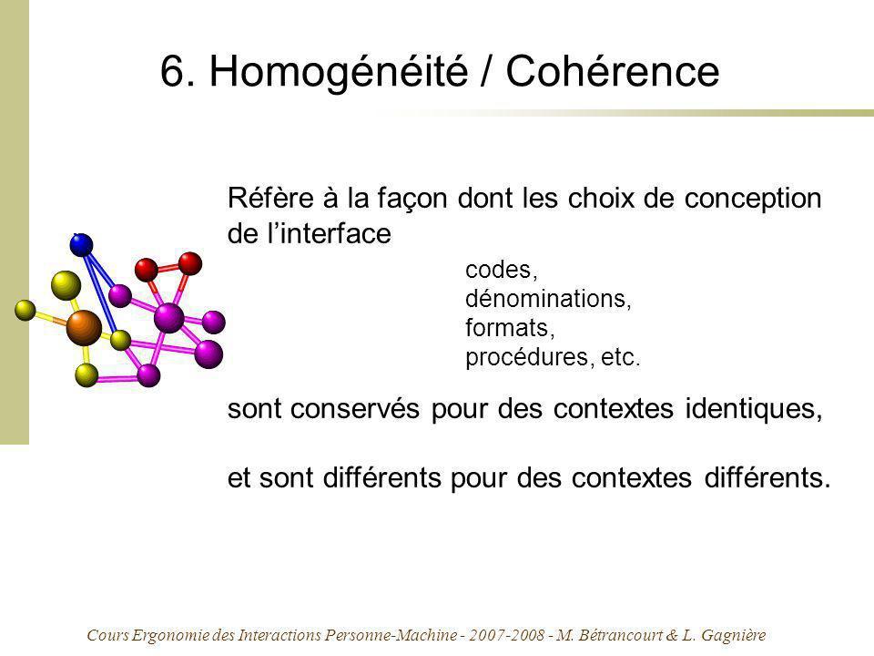 Cours Ergonomie des Interactions Personne-Machine - 2007-2008 - M. Bétrancourt & L. Gagnière 6. Homogénéité / Cohérence Réfère à la façon dont les cho