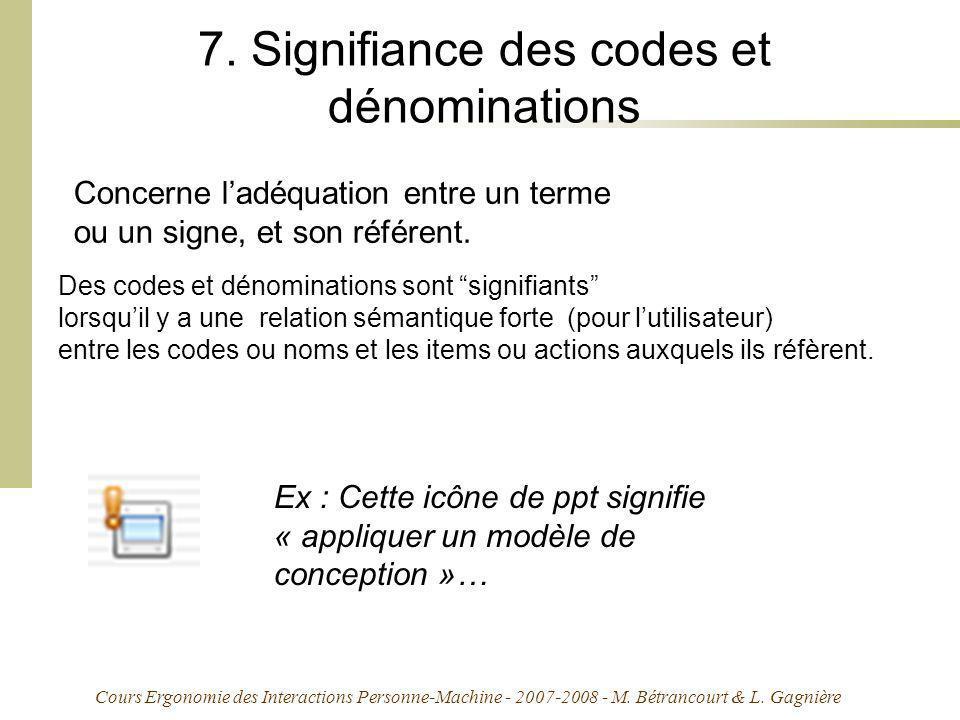 Cours Ergonomie des Interactions Personne-Machine - 2007-2008 - M. Bétrancourt & L. Gagnière 7. Signifiance des codes et dénominations Concerne ladéqu
