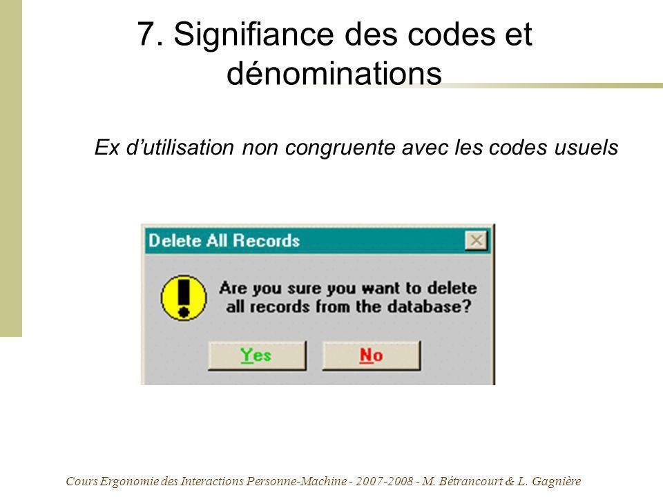 Cours Ergonomie des Interactions Personne-Machine - 2007-2008 - M. Bétrancourt & L. Gagnière 7. Signifiance des codes et dénominations Ex dutilisation