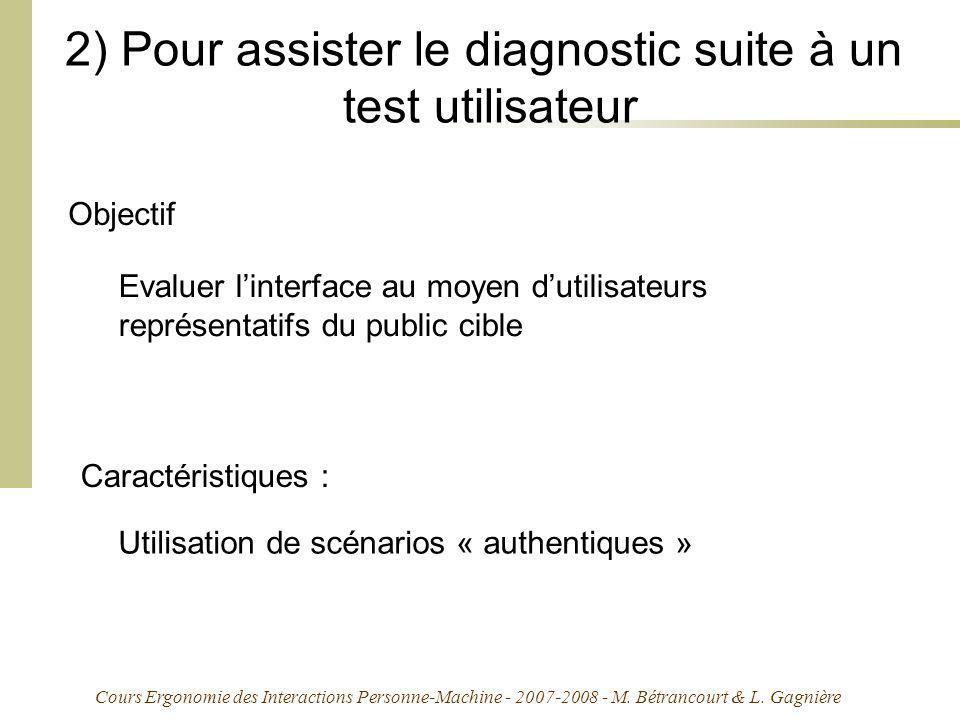 Cours Ergonomie des Interactions Personne-Machine - 2007-2008 - M. Bétrancourt & L. Gagnière 2) Pour assister le diagnostic suite à un test utilisateu