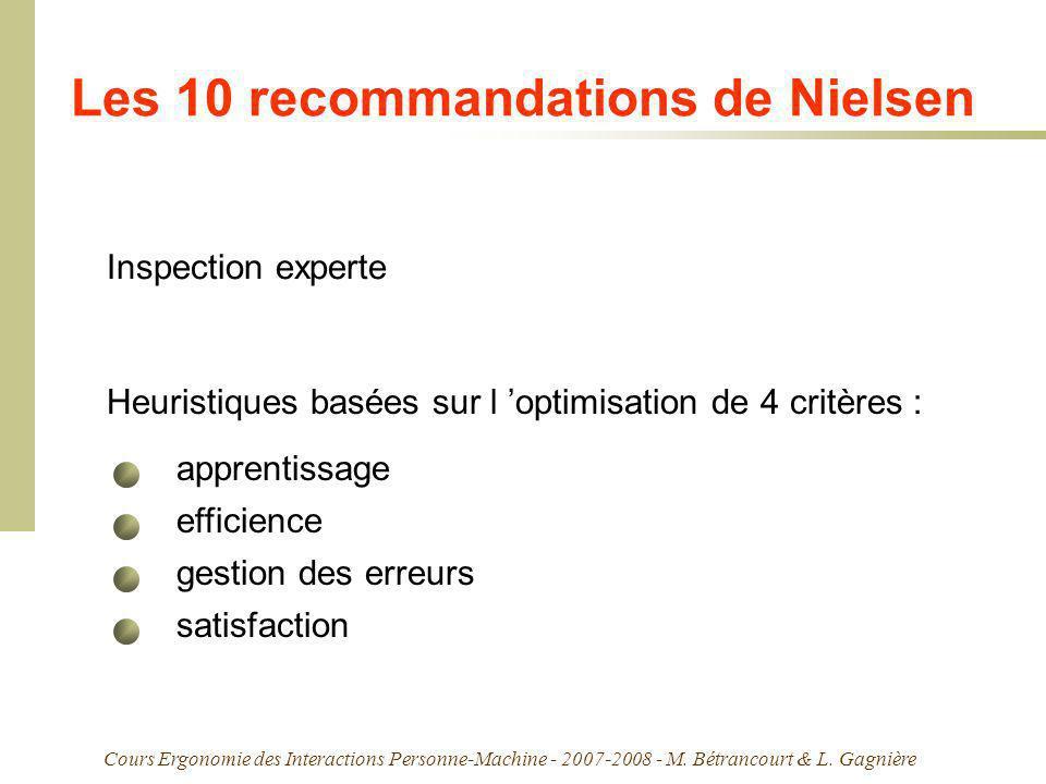 Cours Ergonomie des Interactions Personne-Machine - 2007-2008 - M. Bétrancourt & L. Gagnière Les 10 recommandations de Nielsen Inspection experte Heur