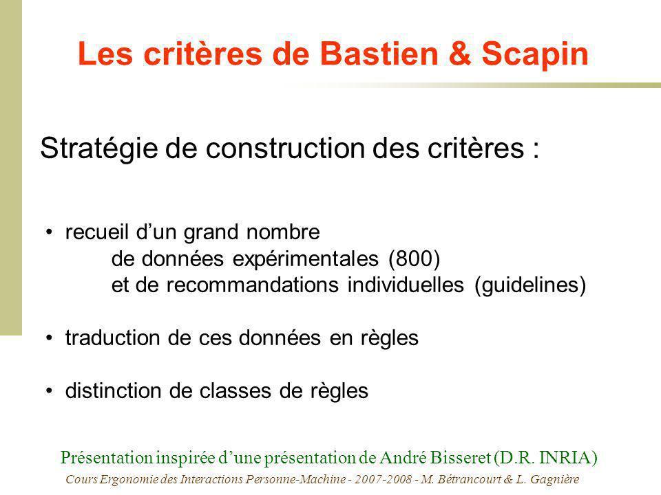 Cours Ergonomie des Interactions Personne-Machine - 2007-2008 - M. Bétrancourt & L. Gagnière Les critères de Bastien & Scapin recueil dun grand nombre