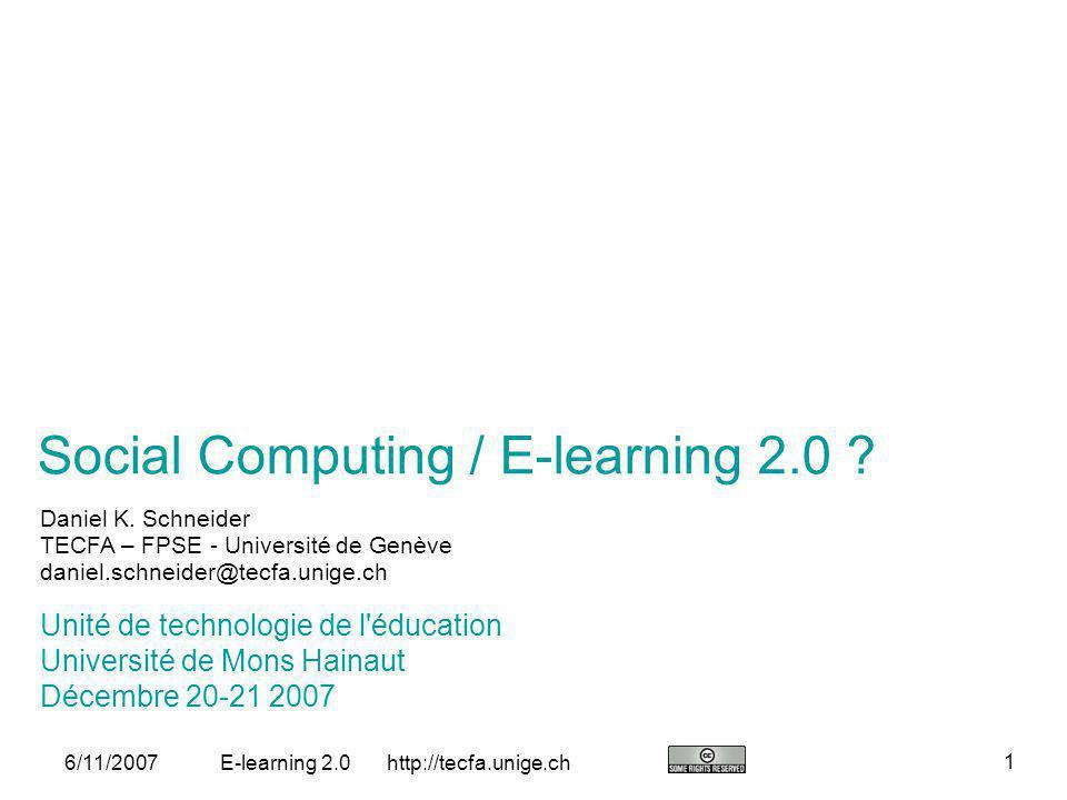 http://tecfa.unige.ch 22 6/11/2007E-learning 2.0 Environnements LD dans lavenir: Simples à utiliser (LAMS lest) Conception et exécution dans un même environnement (LAMS et CeLS) Intégration doutils de productions (web 2.0, social soft., etc.) (on verra…) Manque: digital identity standard(s)