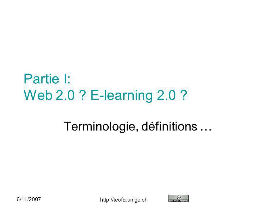 http://tecfa.unige.ch 33 6/11/2007E-learning 2.0 Conclusion Potentiel immédiat: Ecriture (Writing-to-learn) et knowledge community- building environments, genre Edutech Wiki Personal learning environments Ensuite, il faut sintéresser au système: Changement de mentalité informatique (remplacement dapplications monolithiques comme Dokeos, Moodle, WebCT par des architectures basées sur des services) Abandon de plateformes e-learning dans les universités (sauf cas spécifiques) Formation denseignants (pédagogie générale/instructional design au lieu de didactique) …..