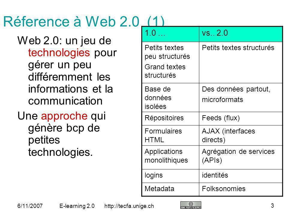 http://tecfa.unige.ch 14 6/11/2007E-learning 2.0 Orchestration: Activités, outils, produits Un projet contient des scénarios composés dactivités assistés par une technologie (outils web 2.0).