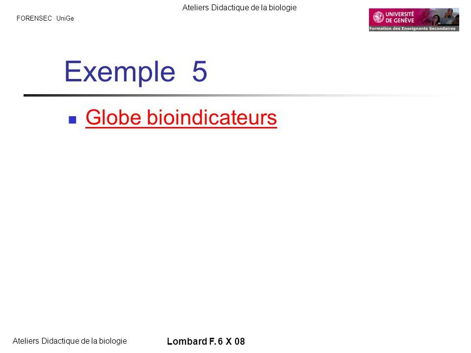FORENSEC UniGe Ateliers Didactique de la biologie Lombard F. 6 X 08 Exemple 5 Globe bioindicateurs