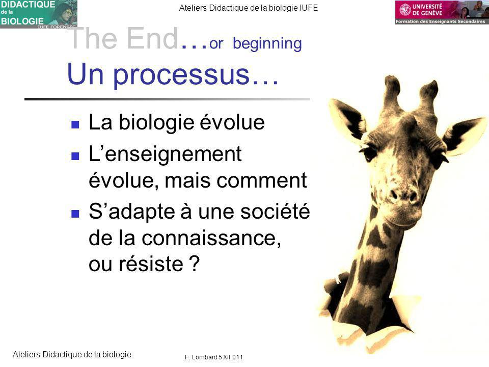 FORENSEC UniGe Ateliers Didactique de la biologie IUFE Ateliers Didactique de la biologie The End… or beginning Un processus… La biologie évolue Lenseignement évolue, mais comment .