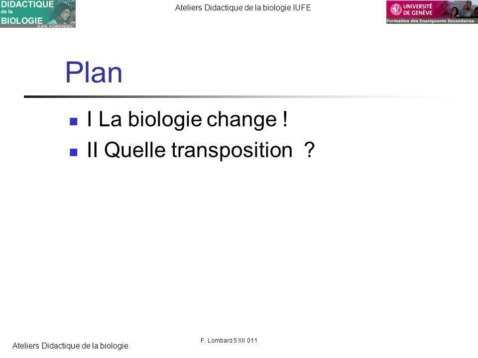 FORENSEC UniGe Ateliers Didactique de la biologie IUFE Ateliers Didactique de la biologie Plan I La biologie change .