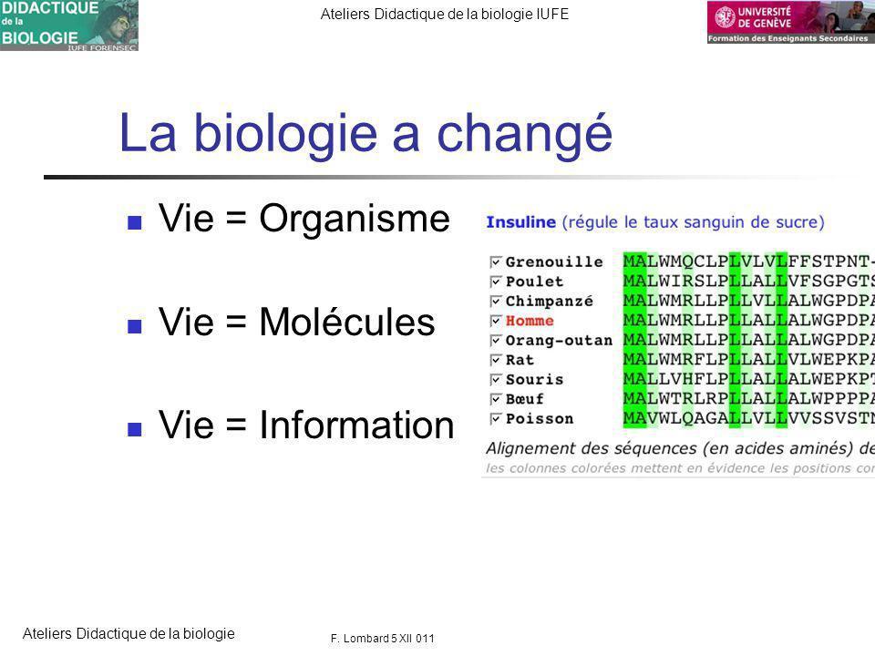 FORENSEC UniGe Ateliers Didactique de la biologie IUFE Ateliers Didactique de la biologie La biologie a changé Vie = Organisme Vie = Molécules Vie = Information F.