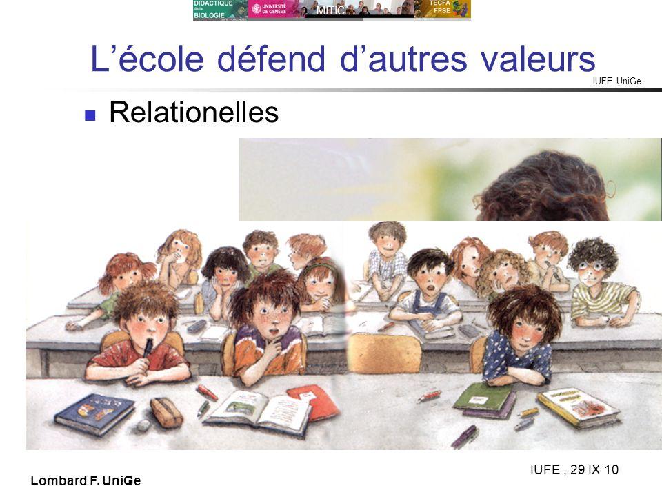 IUFE UniGe MITIC… IUFE, 29 IX 10 Lombard F. UniGe Lécole défend dautres valeurs Relationelles