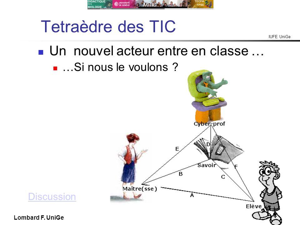 IUFE UniGe MITIC… IUFE, 29 IX 10 Lombard F. UniGe Tetraèdre des TIC Un nouvel acteur entre en classe … …Si nous le voulons ? Discussion