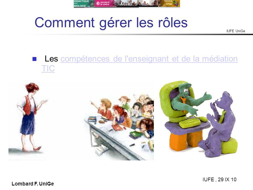 IUFE UniGe MITIC… IUFE, 29 IX 10 Lombard F. UniGe Comment gérer les rôles Les compétences de l'enseignant et de la médiation TICcompétences de l'ensei