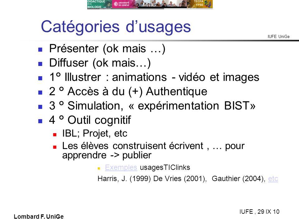 IUFE UniGe MITIC… IUFE, 29 IX 10 Lombard F. UniGe Catégories dusages Présenter (ok mais …) Diffuser (ok mais…) 1° Illustrer : animations - vidéo et im