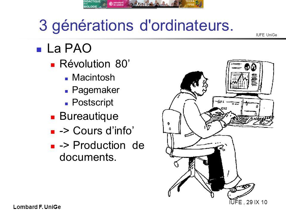 IUFE UniGe MITIC… IUFE, 29 IX 10 Lombard F. UniGe 3 générations d'ordinateurs. La PAO Révolution 80 Macintosh Pagemaker Postscript Bureautique -> Cour