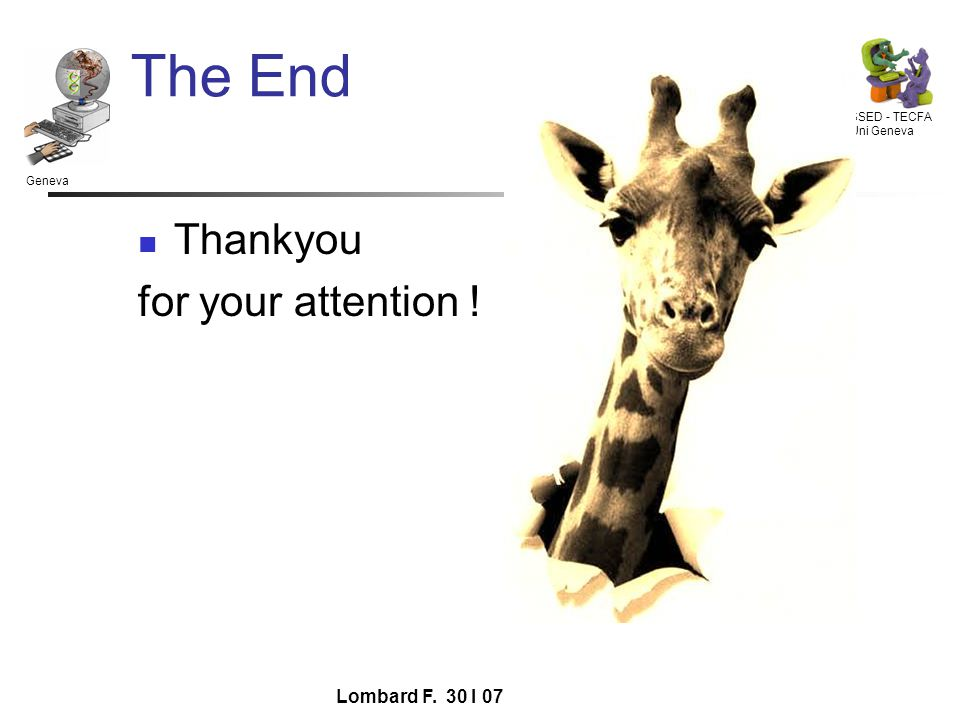 Geneva SSED - TECFA Uni Geneva Lombard F. 30 I 07 The End Thankyou for your attention !