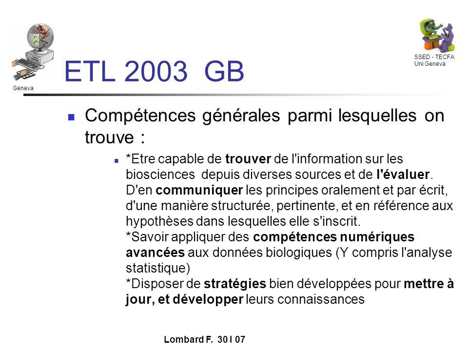 Geneva SSED - TECFA Uni Geneva Lombard F.