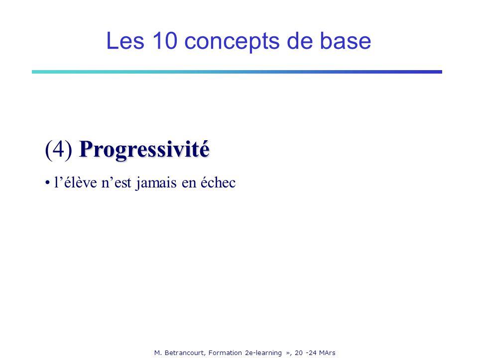 M. Betrancourt, Formation 2e-learning », 20 -24 MArs Progressivité (4) Progressivité lélève nest jamais en échec Les 10 concepts de base