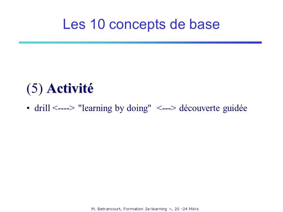 M. Betrancourt, Formation 2e-learning », 20 -24 MArs Activité (5) Activité drill