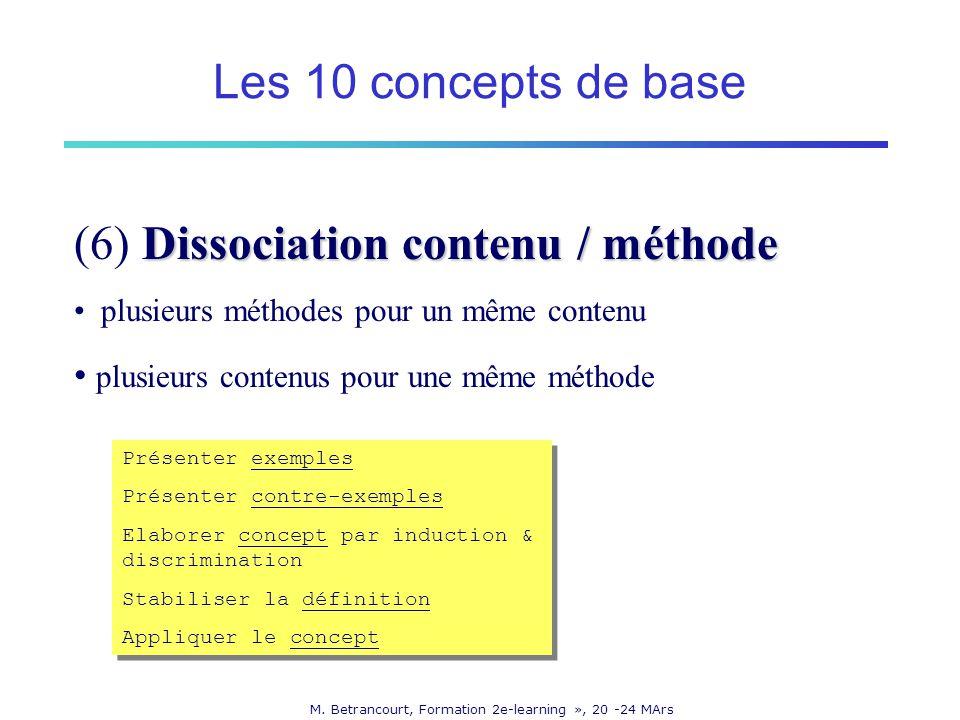M. Betrancourt, Formation 2e-learning », 20 -24 MArs Dissociation contenu / méthode (6) Dissociation contenu / méthode plusieurs méthodes pour un même