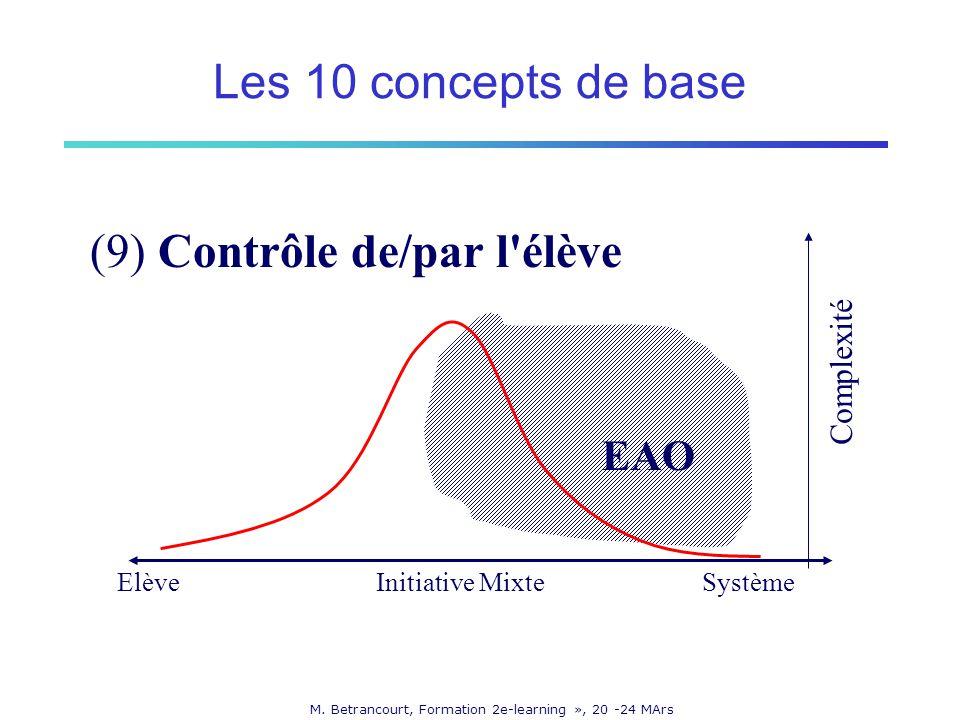 M. Betrancourt, Formation 2e-learning », 20 -24 MArs (9) Contrôle de/par l'élève ElèveSystème Complexité Initiative Mixte EAO Les 10 concepts de base